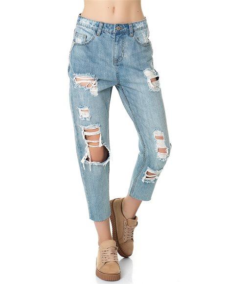 Mom fit τζιν παντελόνι - LIGHT BLUE