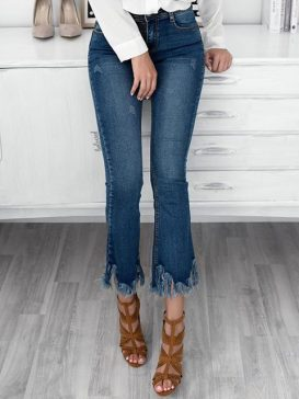 CROPPED RIPPED JEANS