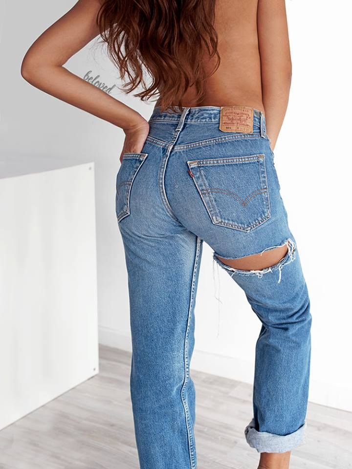 LEVI'S 501 VINTAGE RIPPED BUTT JEANS