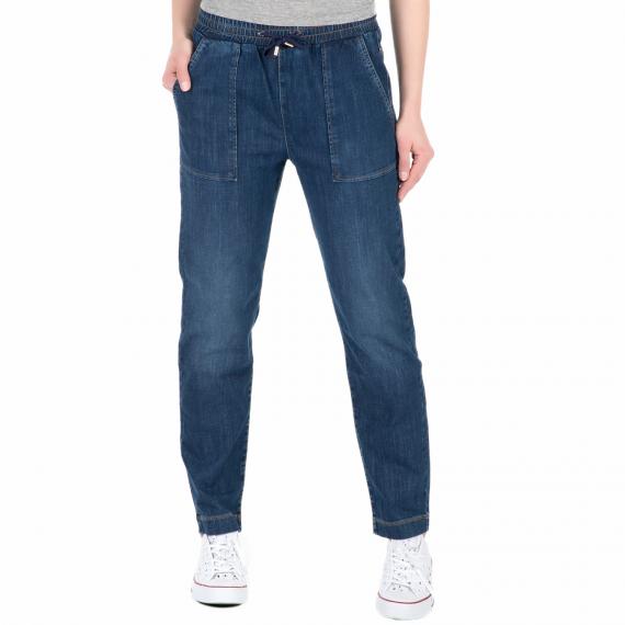 GUESS - Γυναικείο τζιν παντελόνι με ελαστική μέση Guess FATIGUE COULISSE μπλε