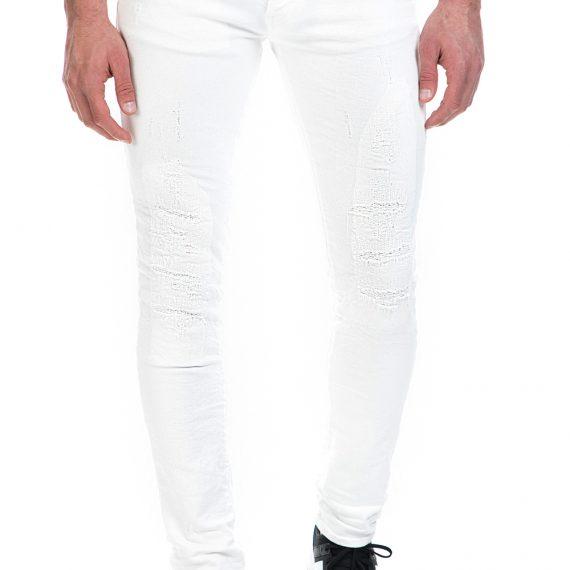GAS - Ανδρικό τζιν παντελόνι GAS λευκό με σκισίματα