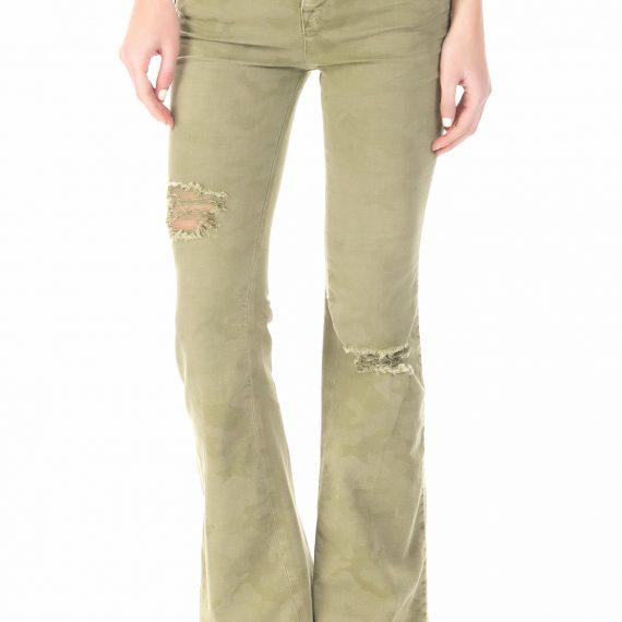 GAS - Γυναικείο τζιν παντελόνι καμπάνα GAS λαδί