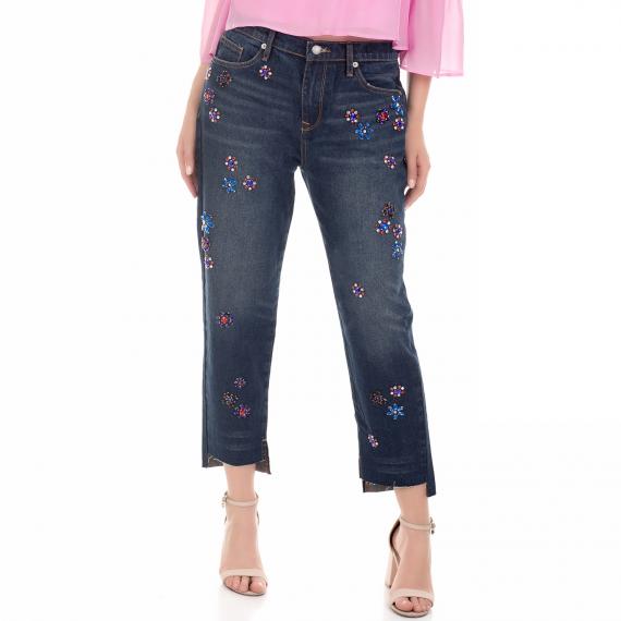 JUICY COUTURE - Γυναικείο τζιν παντελόνι FLORAL EMBELLISHED BOYFRIEND μπλε