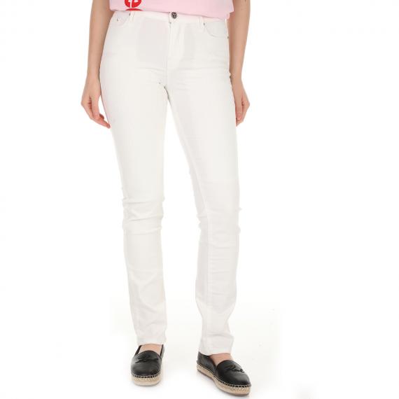KARL LAGERFELD - Γυναικείο jean παντελόνι KARL LAGERFELD λευκό