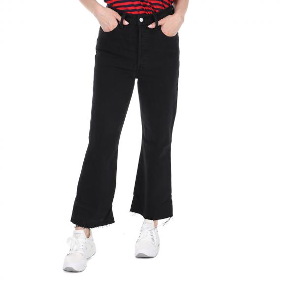 LEVI'S - Γυναικείο crop jean παντελόνι LEVI'S RIBCAGE CROP FLARE ON THE ROCK μαύρο