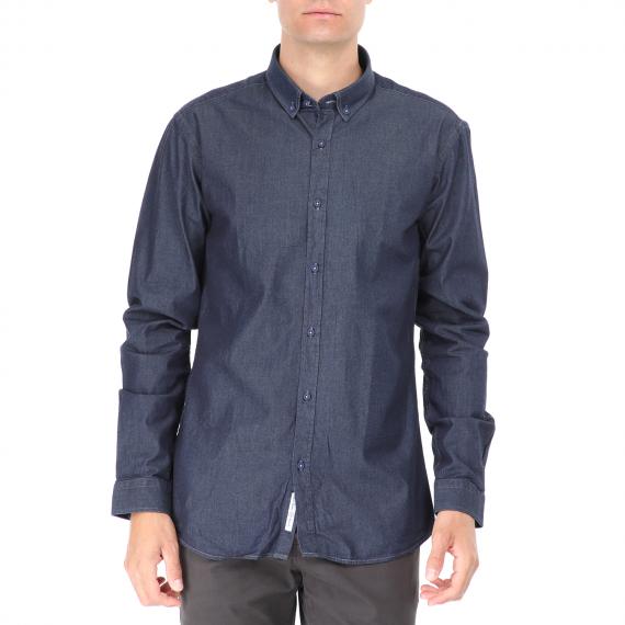 DORS - Ανδρικό πουκάμισο DORS μπλε denim