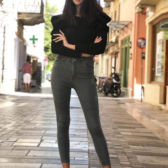 Γυναικείο γκρι ψηλόμεσο τζιν παντελόνι σωλήνας RW510168