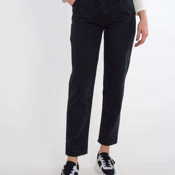 Γυναικείο μαύρο τζιν παντελόνι Mom Fit λάστιχο τσέπες LE4210