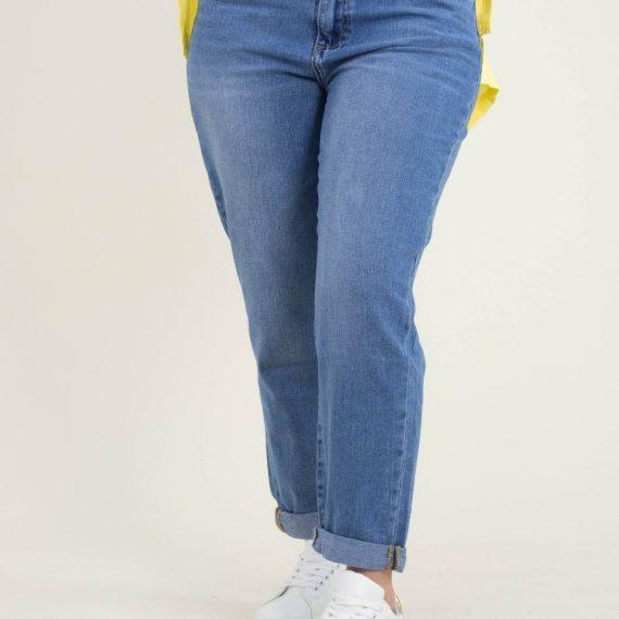 Γυναικείο μπλε τζιν Momfit Plus Size ξεβαμμένο HA7797