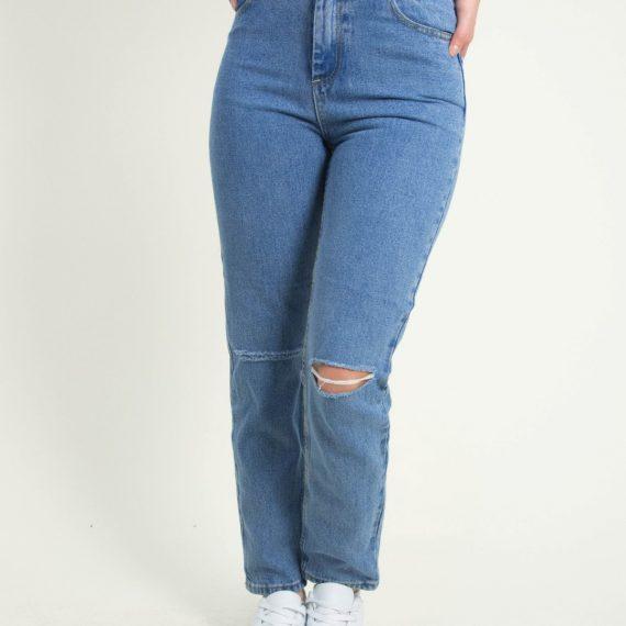 Γυναικείο μπλε ανοιχτό τζιν Mom Fit σκίσιμο γόνατα ITA924