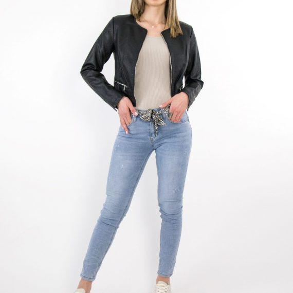 Γυναικείο χλώριο τζιν παντελόνι σωλήνας λεοπάρ ζώνη CY5205