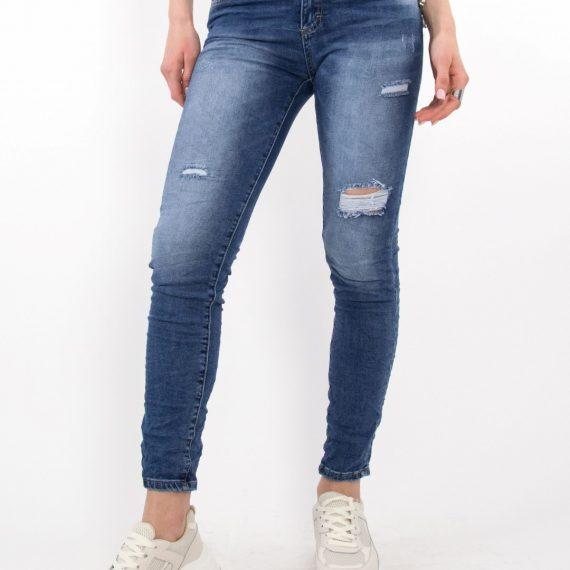 Γυναικείο μπλε τζιν παντελόνι σωλήνας με φθορές CY550