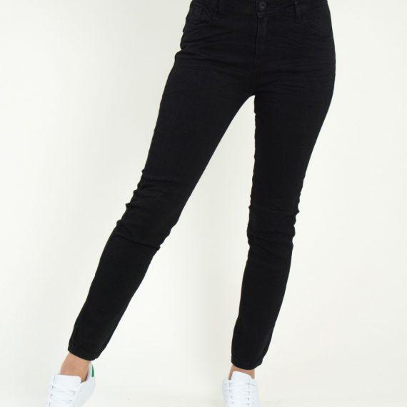 Γυναικείο μαύρο ψηλόμεσο τζιν παντελόνι Damaged Z31B18