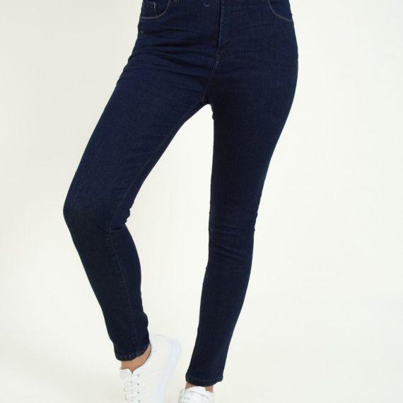 Γυναικείο blue black ψηλόμεσο τζιν παντελόνι Damaged Z31A