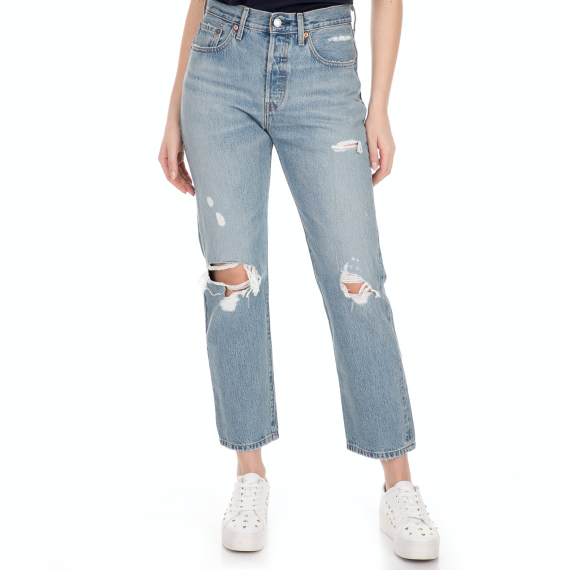 LEVI'S - Γυναικείο jean παντελόνι LEVI'S 501 CROP AUTHENTICALLY YOURS μπλε