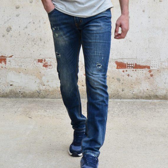 Ανδρικό jean παντελόνι μπλε ξεβαμμένο ίσια γραμμή WW2076