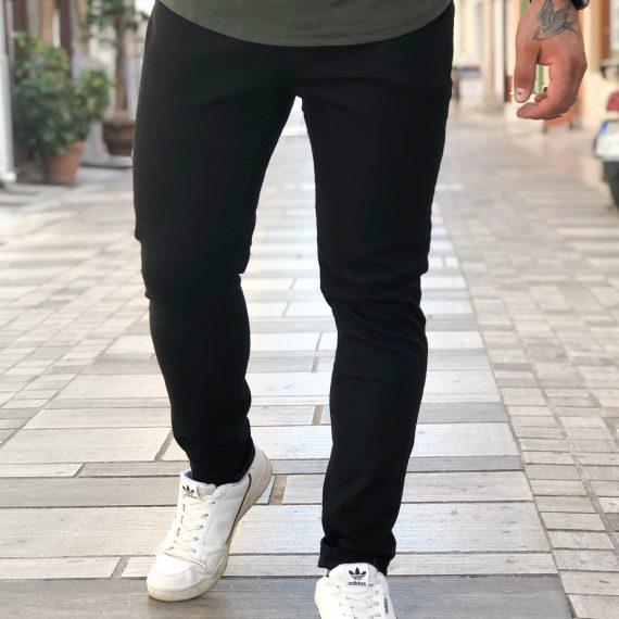 Ανδρικό μαύρο τζιν παντελόνι πεντάτσεπο DR4076F