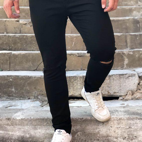 Ανδρικό μαύρο τζιν παντελόνι με σκίσιμο DR4054